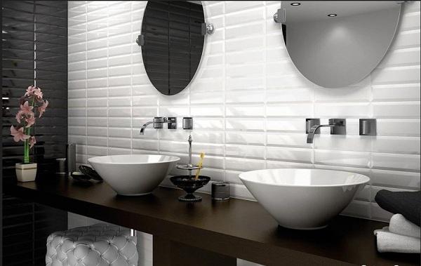 Gạch thẻ trắng cho nhà tắm sang trọng