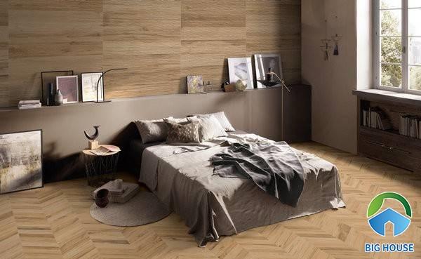 Lựa chọn gạch vân gỗ cho phòng ngủ rất phù hợp