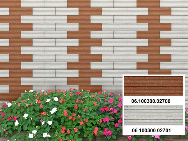 Không gian ngoại thất toát lên vẻ đẹp nổi bật với các mẫu gạch thẻ trang trí Prime 2706 và 2701. Kết hợp với mẫu gạch lát sân màu đỏ lợt mang lại sự đồng bộ nhất định cho không gian ứng dụng.