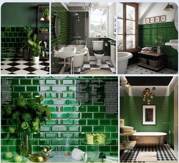 Nếu muốn không gian của mình phá cách hơn thì bạn cũng có thể sử dụng mẫu gạch ốp tường màu xanh rêu