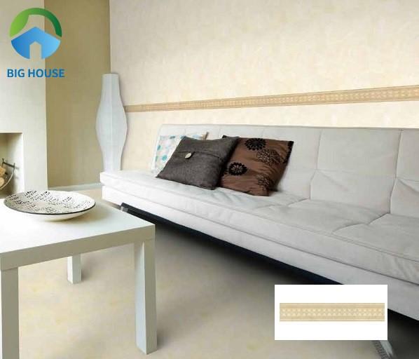 Không gian phòng khách ấm áp, gần gũi với mẫu gạch ốp viền ốp tường 10x60 Đồng Tâm V1060THOCAM002