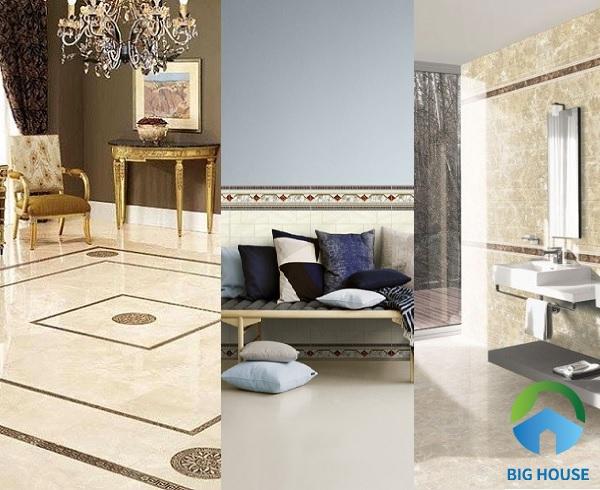 Các mẫu gạch viền được chia thành 3 loại: ốp chân tường, ốp điểm tường và lát nền