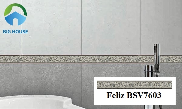 Feliz BSV7603 sở hữu gam màu xám xanh lạ mắt. Bạn có thể lựa chọn ốp ngang, dọc hoặc đồng thời 2 kiểu ốp nhưng với điều kiện chỉ sử dụng 1 kiểu ốp trên 1 mặt cắt tường.