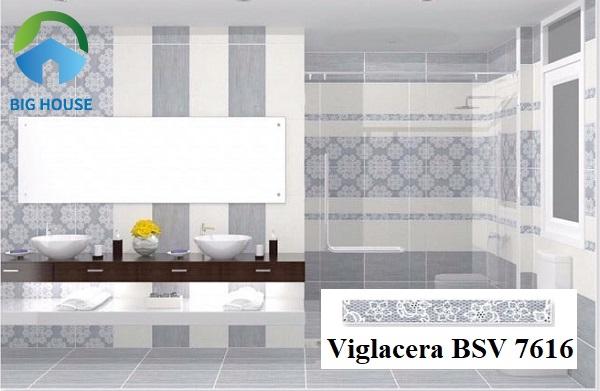 Gạch viền Viglacera BSV 7616 7x60 có họa tiết hoa văn đặc sắc giúp không gian phòng tắm sinh động hơn. Đồng thời, gam màu xanh xám lạ mắt rất cuốn hút.