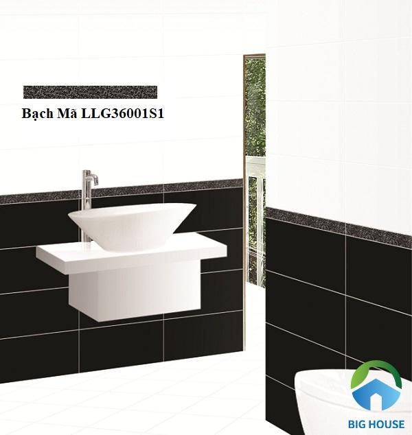 Phần gạch viền đen đốm tiếp nối giữa nền gạch màu đen và trắng tạo sự liên kết hài hòa