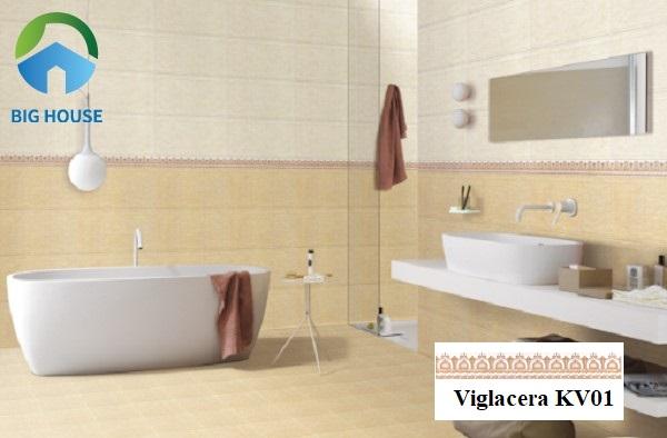 Lựa chọn gạch Viglacera KV01 ốp viền điểm cho tường phòng tắm rất đẹp