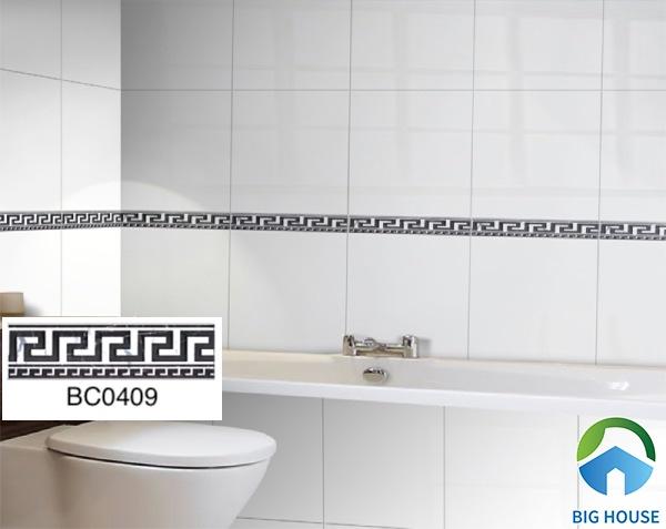 Không gian phòng tắm thu hút hơn nhờ gạch viền trang trí Taicera BC0409