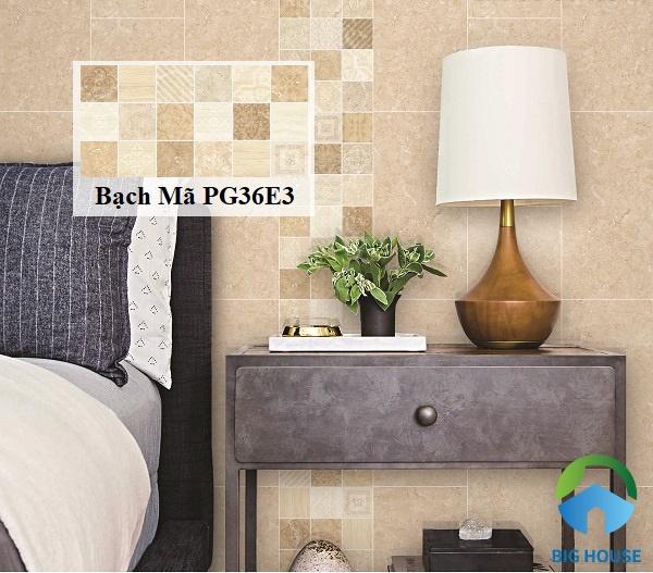 Sử dụng gạch Bạch PG36E3 có gam màu nâu nhạt ốp tường trang trí rất đẹp