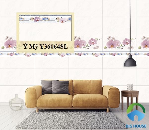 Mã gạch Y36064SL sở hữu bề mặt nhẵn bóng phù hợp ốp tường trang trí phòng khách