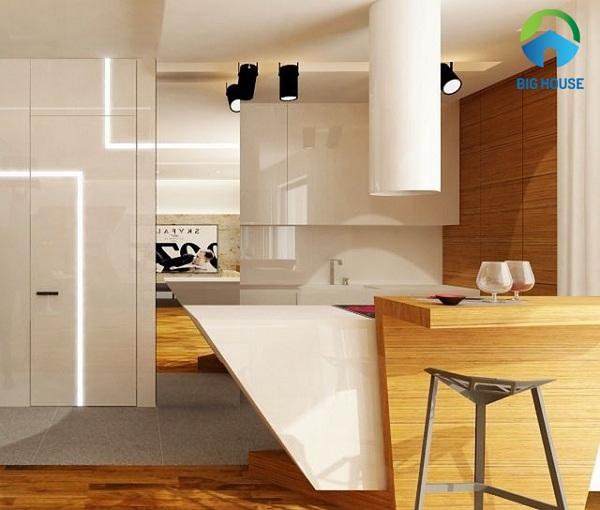 Gạch giả gỗ ốp tường nhà bếp Ấn tượng