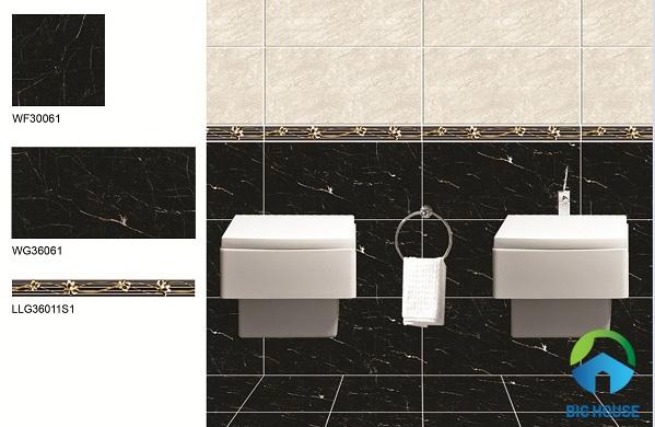 Mẫu gạch viền điểm giúp nhà vệ sinh thêm nổi bật, ấn tượng