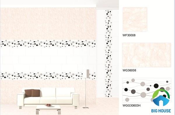 Mẫu gạch viền điểm tạo sự cá tính cho phòng khách
