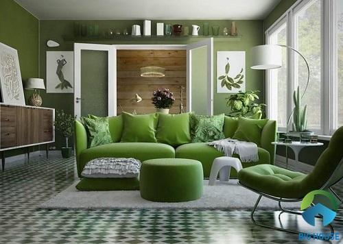 phối màu phòng khách nhà ống đơn giản