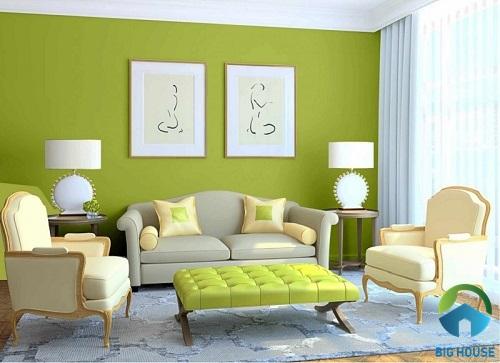 cách phối màu phòng khách nhà ống đơn giản