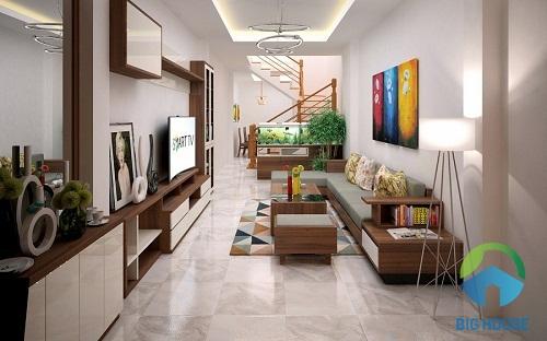 sử dụng tông sáng giúp phòng khách nhà ống thêm sang trọng