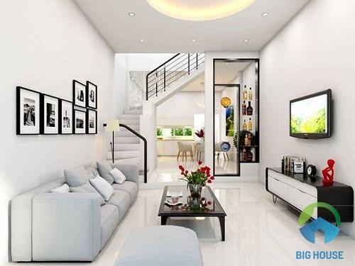 phòng khách nhà ống đẹp tinh tế với gam màu trắng