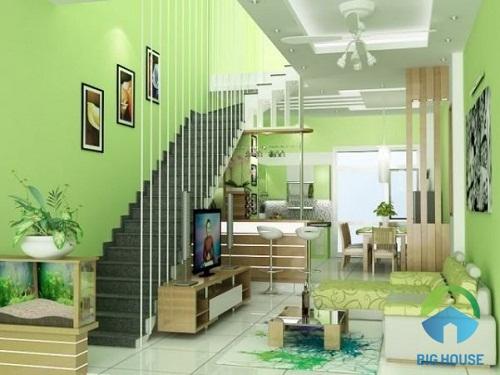 phòng khách nhà ống có cầu thang 10