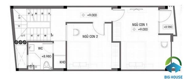 thiết kế nhà lệch tầng 4x10 4