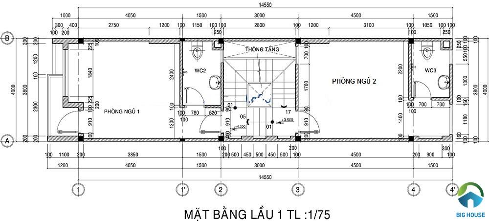 thiết kế nhà lệch tầng 4x15