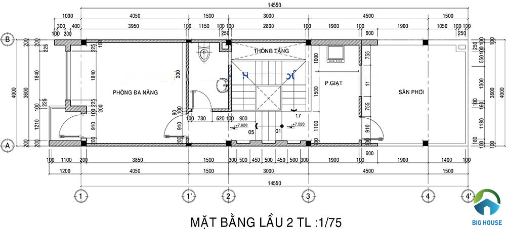 thiết kế nhà lệch tầng 4x15 13