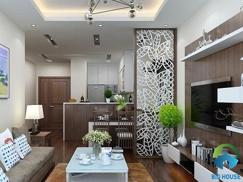 thiết kế phòng khách liền bếp cho nhà ống