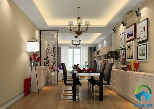 thiết kế phòng khách và bếp liên thông cho nhà ống
