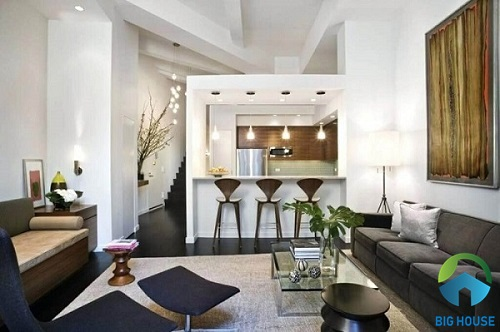 thiết kế phòng khách liền kề bếp cho nhà ống