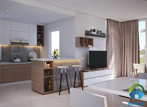thiết kế phòng khách nhà ống chung bếp