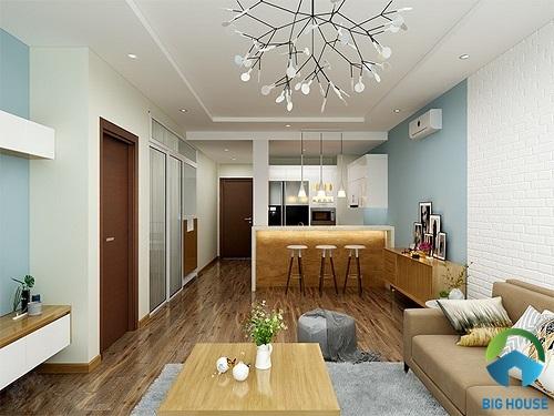 thiết kế phòng khách nhà ống và bếp chung