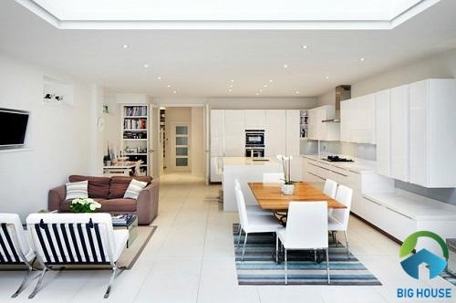 thiết kế phòng khách nhà ống liền bếp